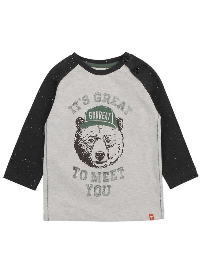 Longsleeve It's Great - Bear Hugs Grijs melange. Maat 86