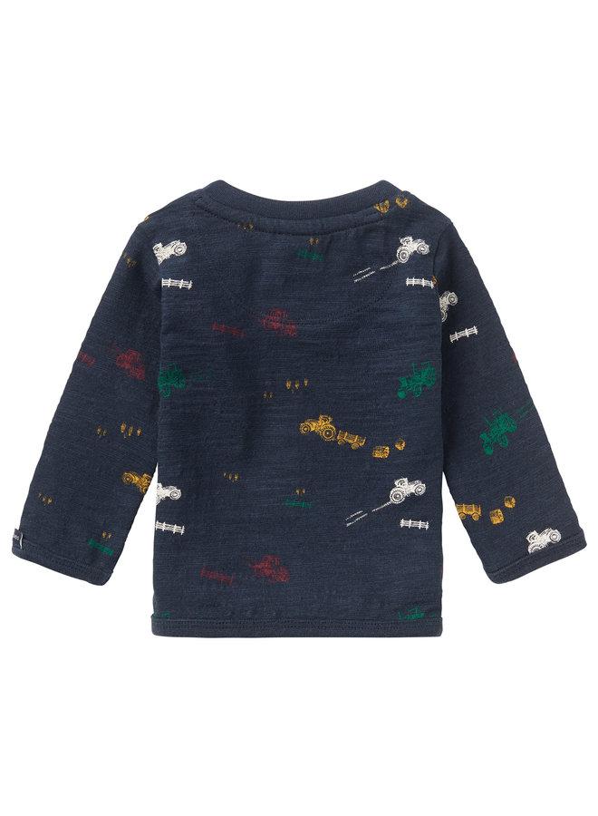 B T-Shirt LS Rietbron AOPDark Sapphire. Maat 56