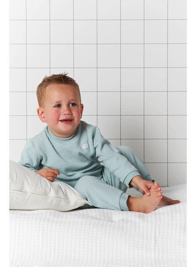 Pyjama wafel Groen melange. Maat 116