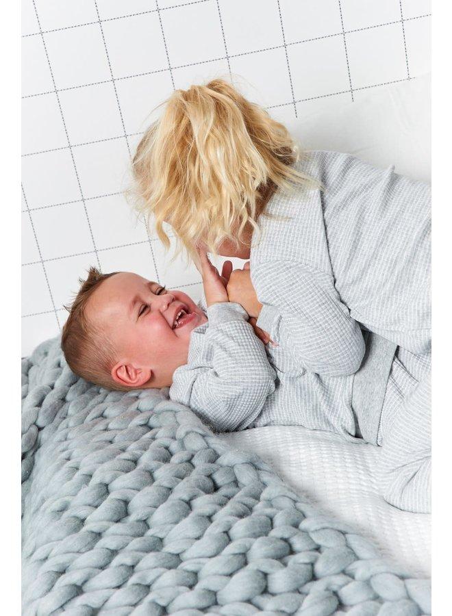 Pyjama wafel Grijs melange