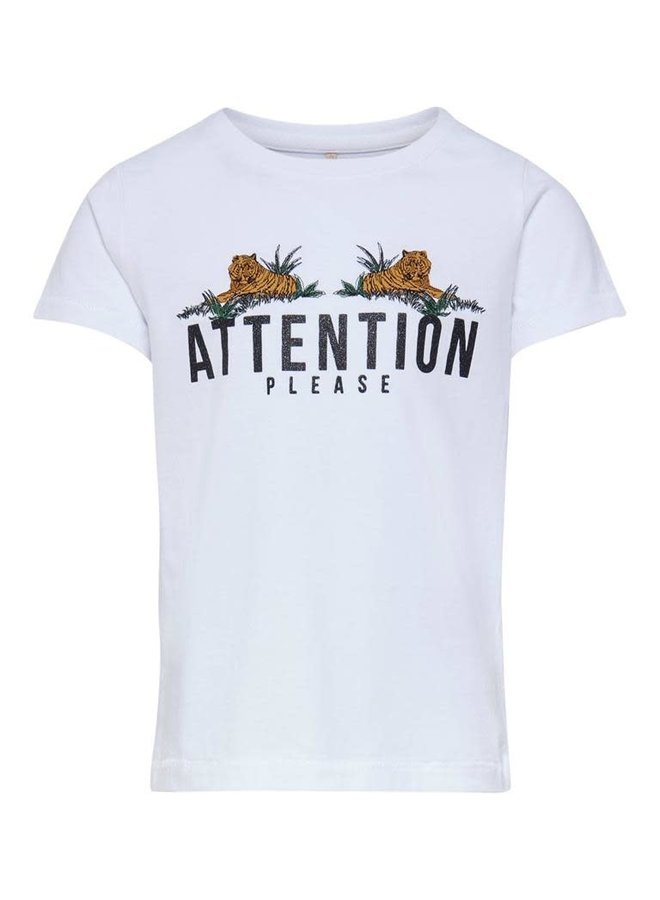 KONKITA LIFE S/S FIT  TIGERS TOP JRS Bright White ATTENTION