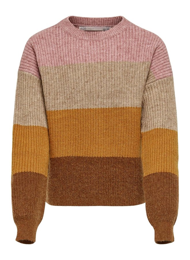 KONSANDY L/S STRIPE PULLOVER CP KNT Dusty Rose. Maat