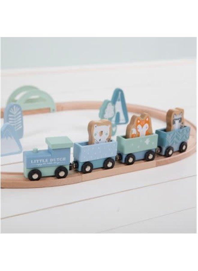 Little Dutch houten Treinbaan blue