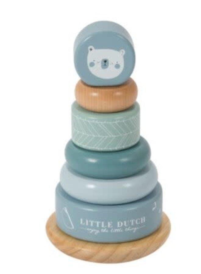 Little Dutch houten tuimelringpiramide blue