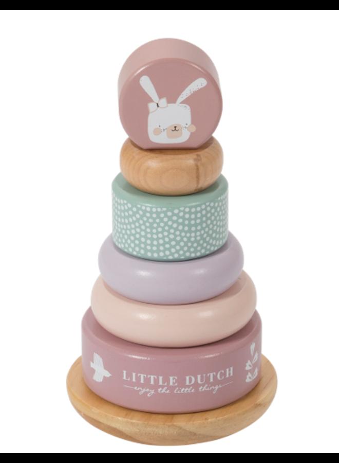 Little Dutch houten tuimelringpiramide pink