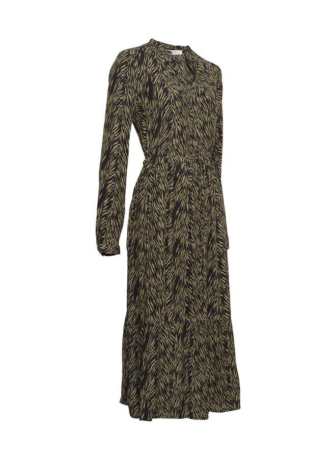 Calie Morocco LS Dress AOP SAGE ZEBRA