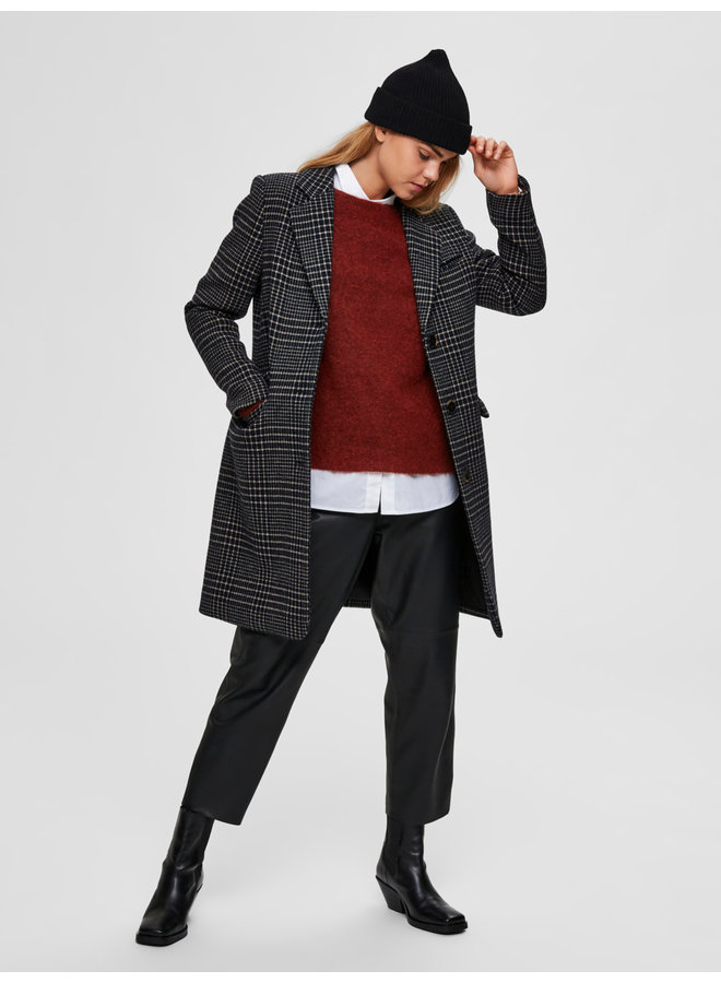 SLFELINA WOOL CHECK COAT B Black black/blue check