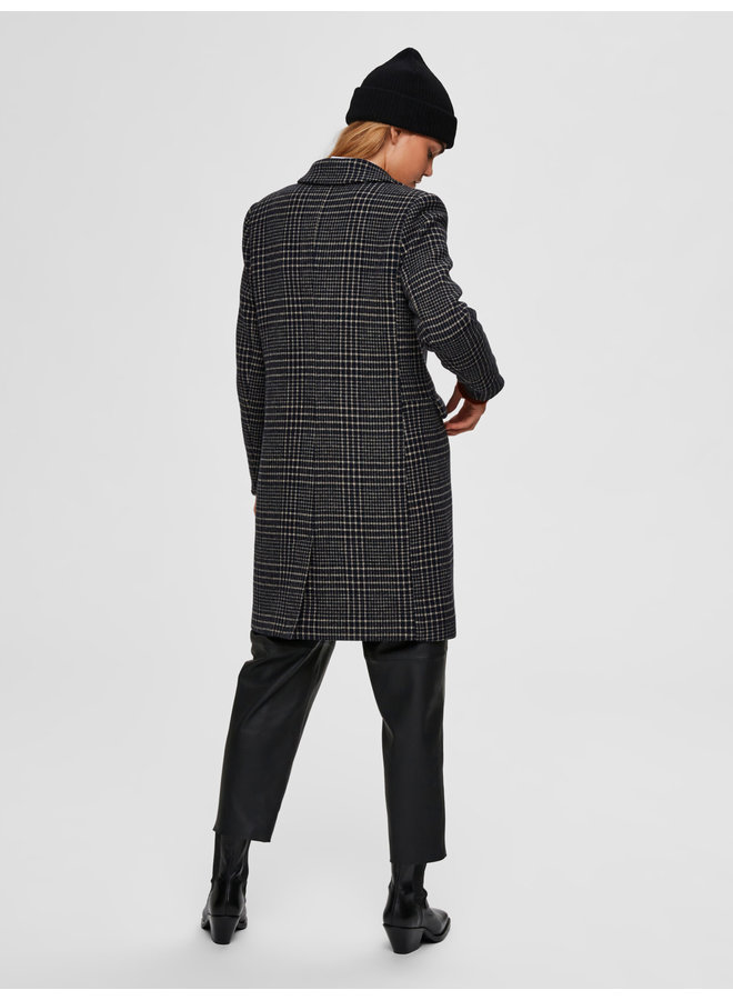 SLFELINA WOOL CHECK COAT B Black black/blue check