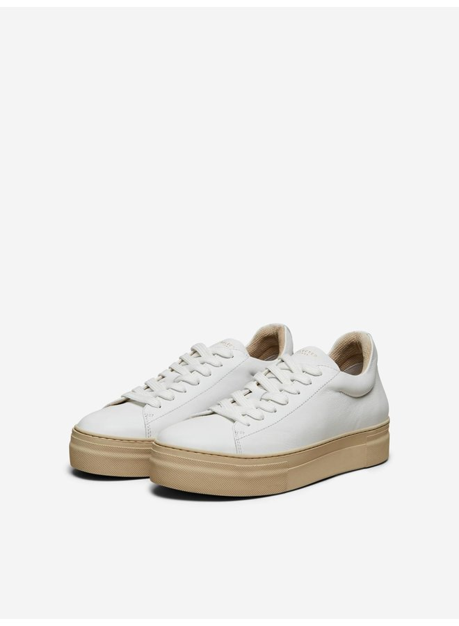 SLFHAILEY LEATHER TRAINER B White