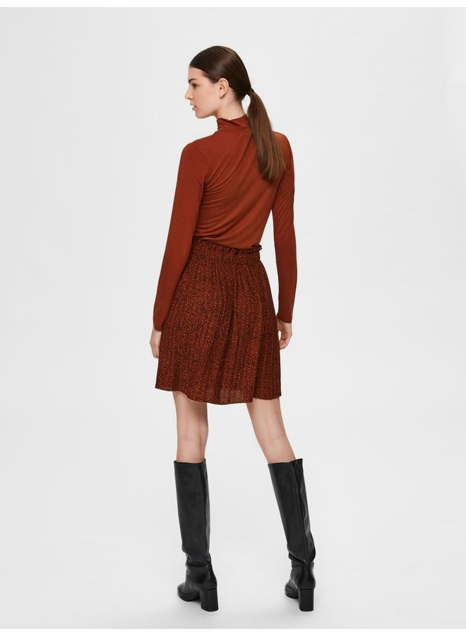 SLFKINSLEY MW SHORT PLISSE SKIRT B Smoked Paprika AOP