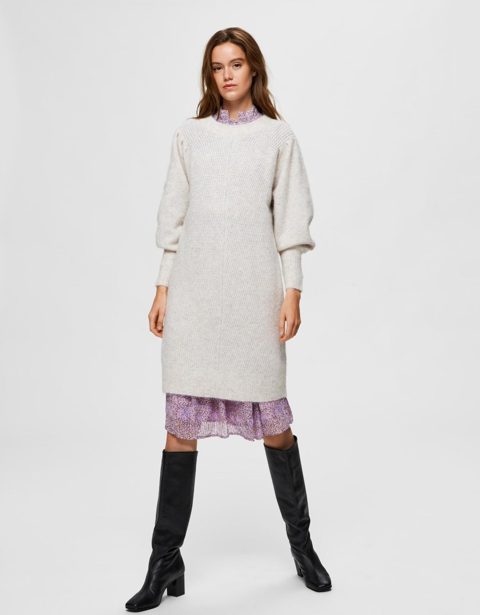 SLFLINNA LS  KNIT DRESS O-NECK B Sandshell
