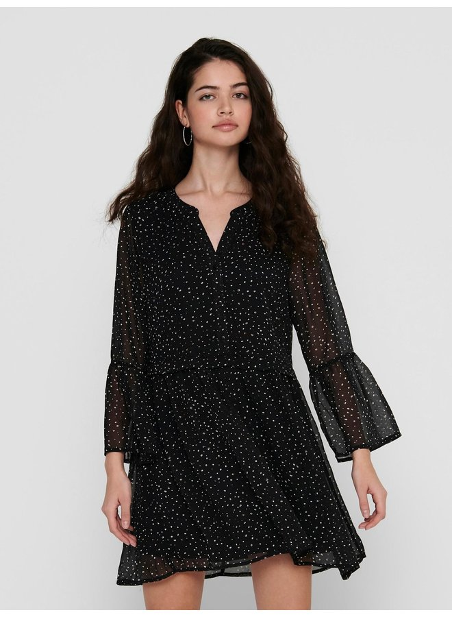 JDYKYLIE 7/8 SHORT DRESS WVN Black PASTEL ABSTRACT DOTS