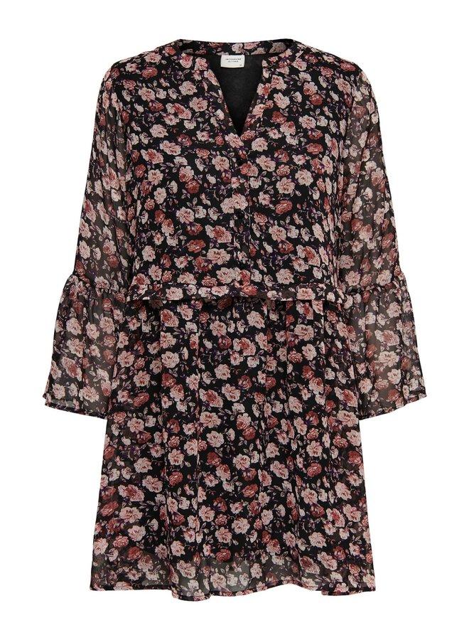 JDYKYLIE 7/8 SHORT DRESS WVN Black PASTEL ROSE FLOWERS