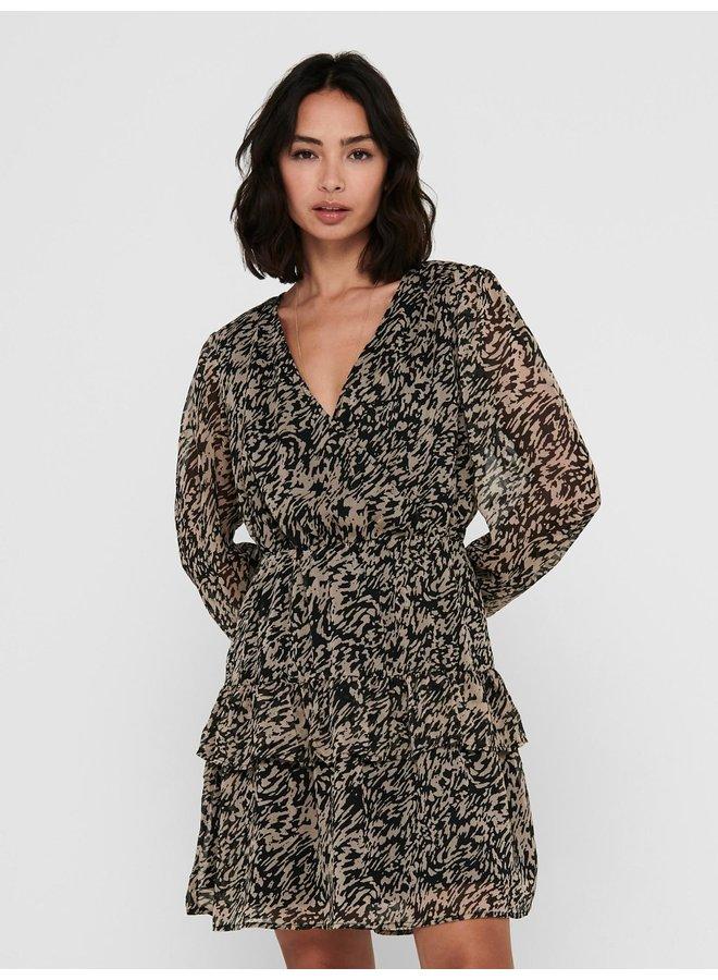 JDYPENELOPE L/S DRESS WVN Black SILVER MINK
