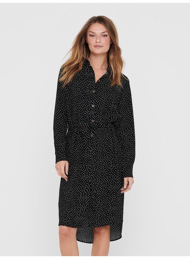 JDYPINEY L/S BELOW KNEE  SHIRT DRESS WVN Black WHITE DOTS