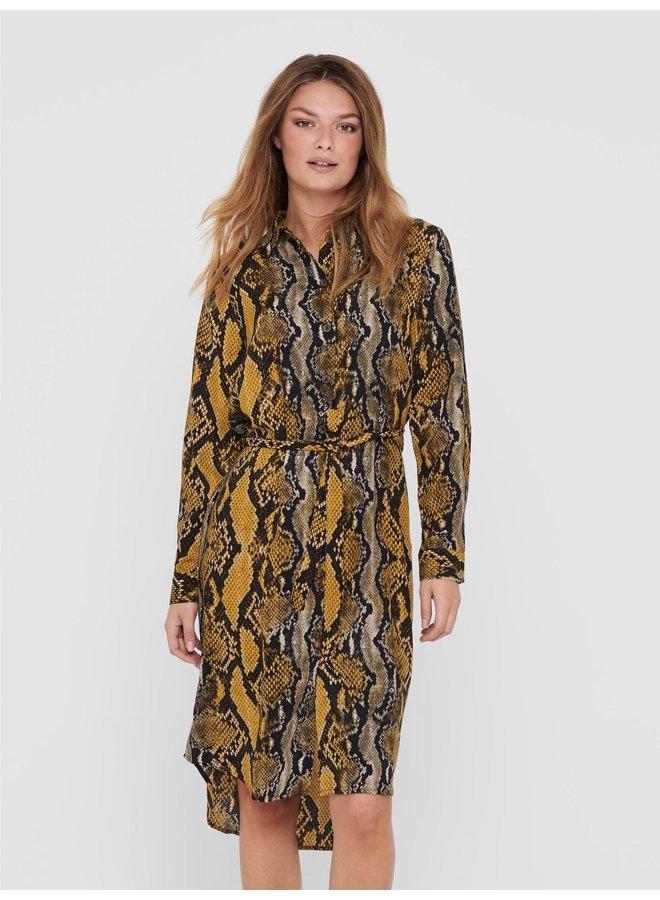 JDYPINEY L/S BELOW KNEE  SHIRT DRESS WVN Black YELLOW SNAKE