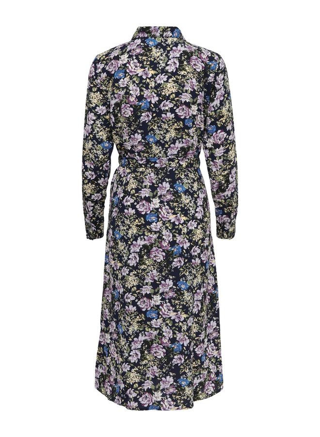 JDYPIPER L/S  ABOVE CALF DRESS WVN NOOS Black Iris PURPLE & PARISIAN BLUE FLOWERS