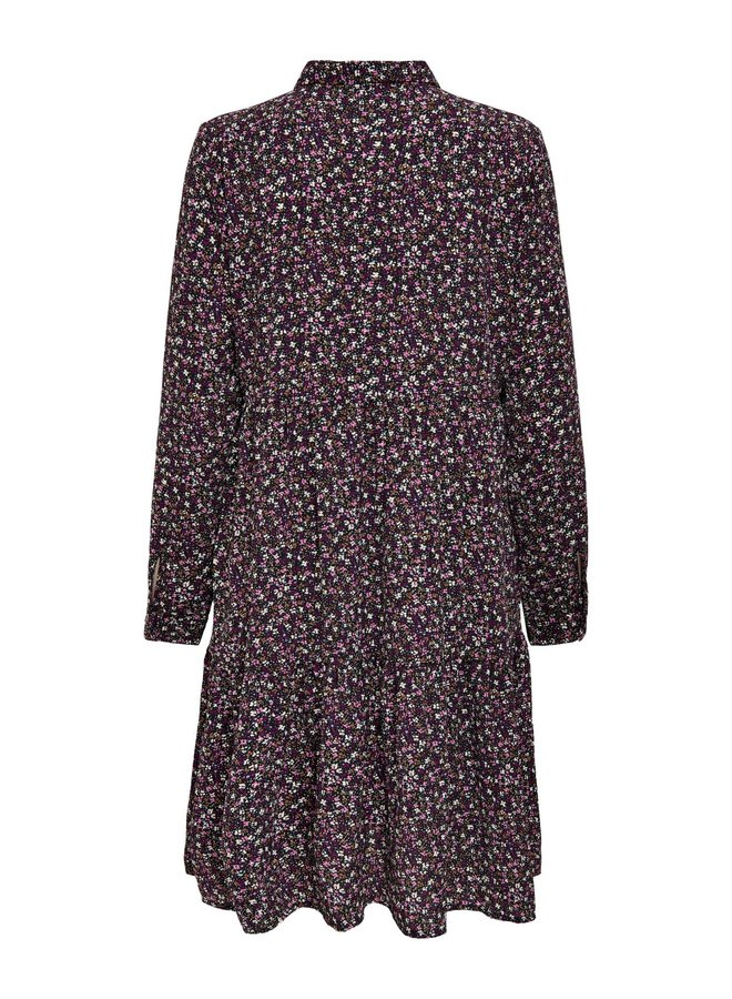 JDYPIPER L/S AOP  SHIRT DRESS WVN NOOS Black FUSCHIA PINK & VIVID VIOLA FLEUR