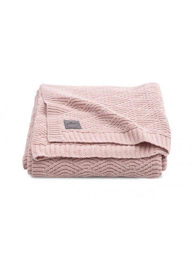 Deken 100x150cm River knit pale pink