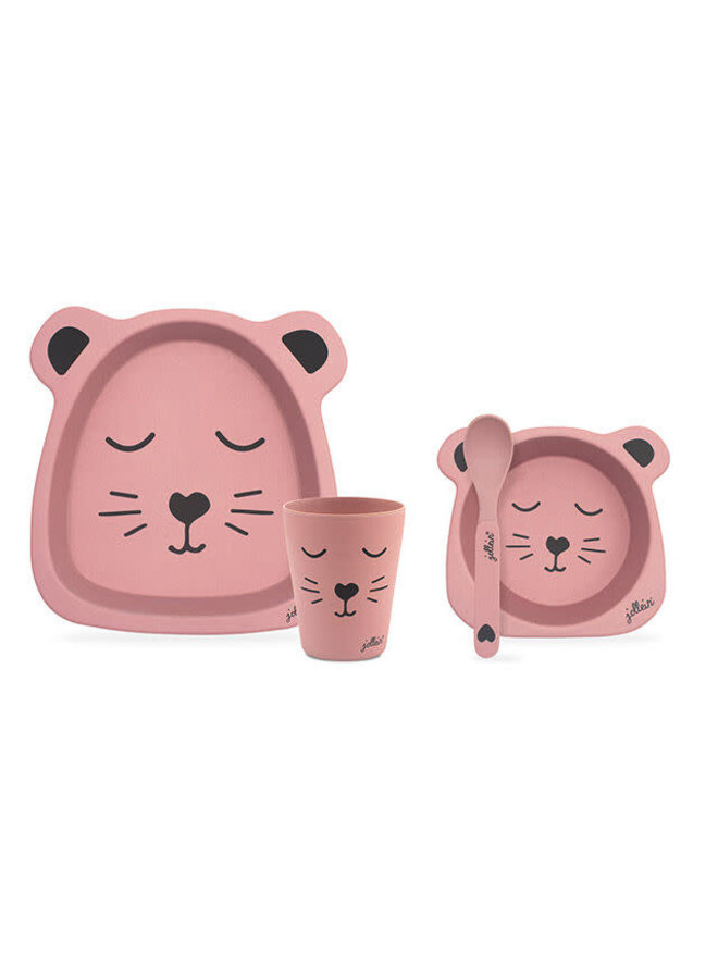 Dinerset bamboe Animal club pink