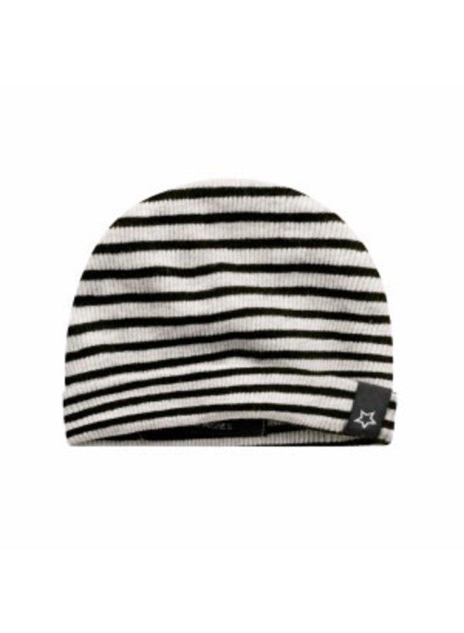 Beige - Stripes   Newborn Hat Chalk onesize