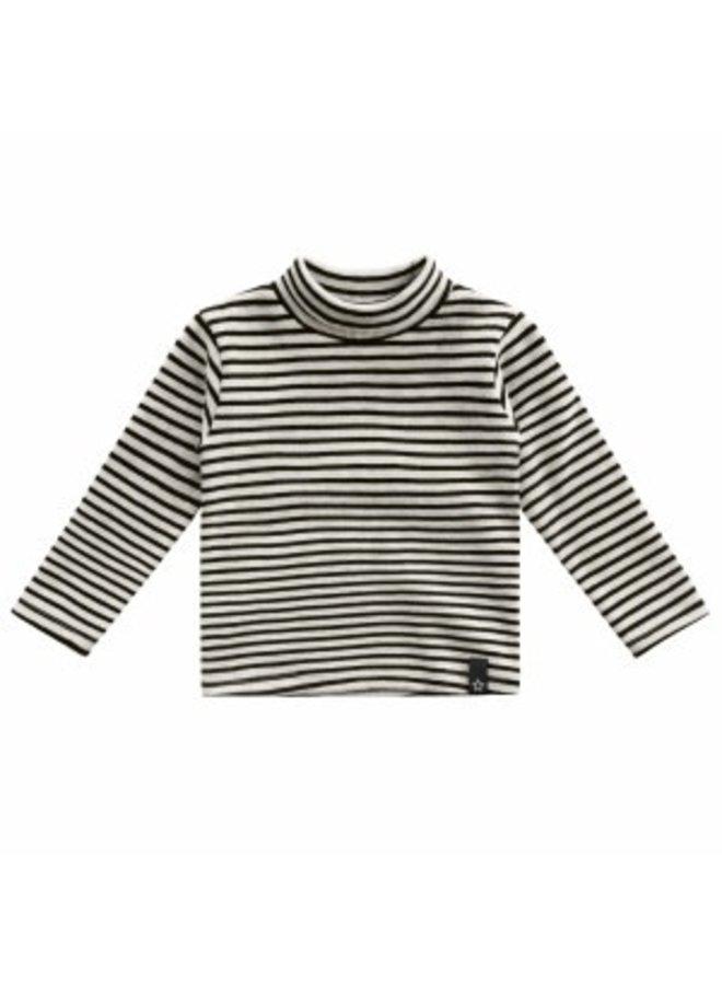Beige - Stripes   Turtleneck Chalk maat 74/80
