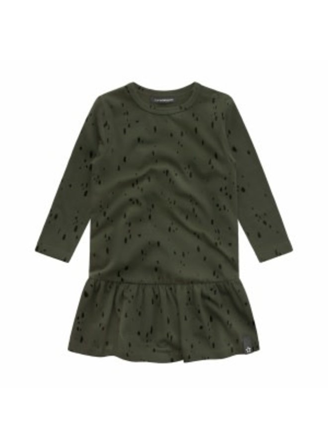 Splatters | Shift Dress Desk Green maat 74/80