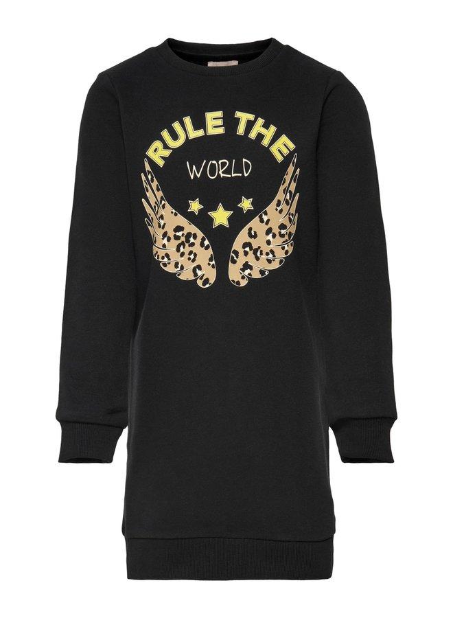 KONROLLO LIFE L/S O-NECK DRESS CS SWT Black RULE THE WORLD