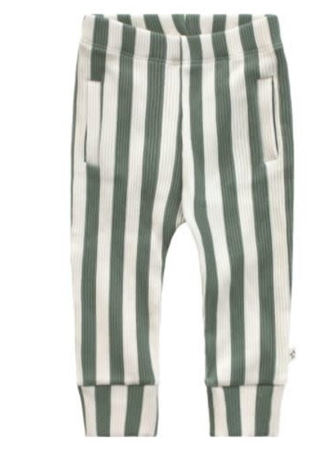 Bold Stripes | Fitted Pants Old Green
