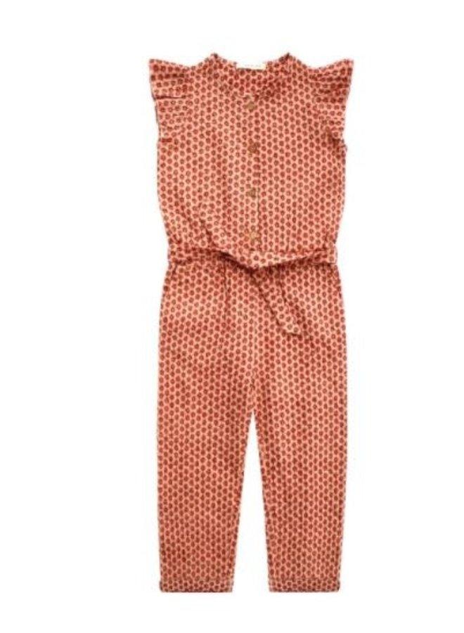 Broderie Terra | Ruffle Jumpsuit Peach