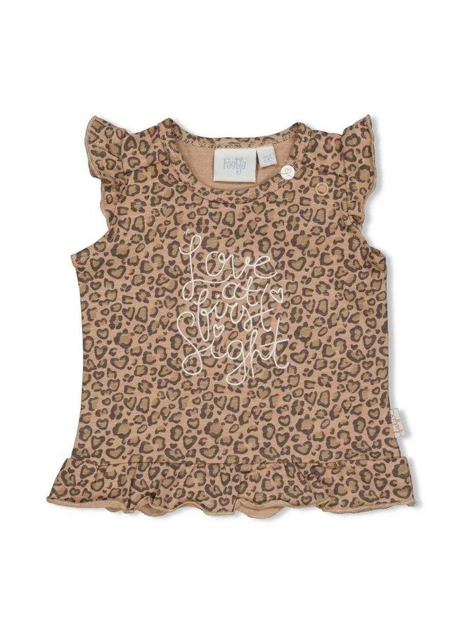 T-shirt AOP - Panther Cutie Zand