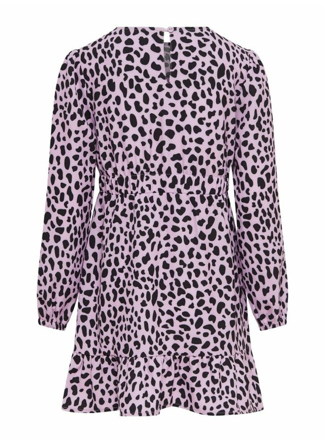 KONSOLVEIG L/S FAKEWRAP SH DRESS CS WVN Orchid Bloom KIDS LEO/ BLACK