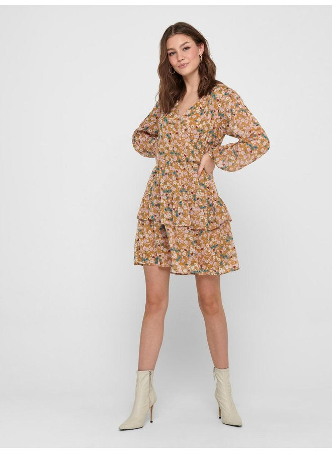 JDYPENELOPE L/S DRESS WVN Cathay Spice SOFT MULTICOLOR FLOWERS