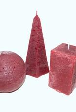 Assorti Kaarsen 3 stuks Rustique Bordeaux Rood