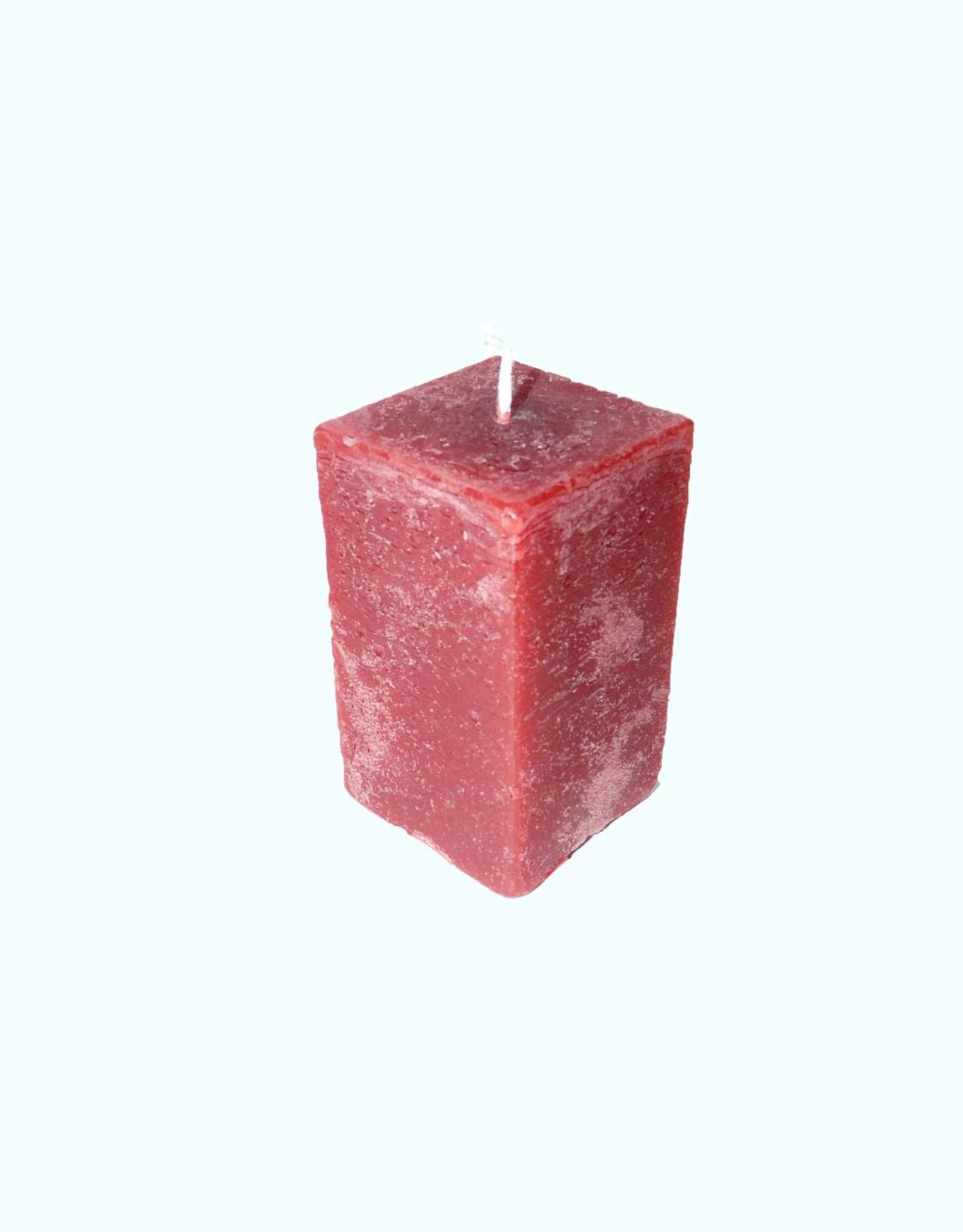 Kaars Vierkant Rustique Bordeaux Rood 6x6x10 cm