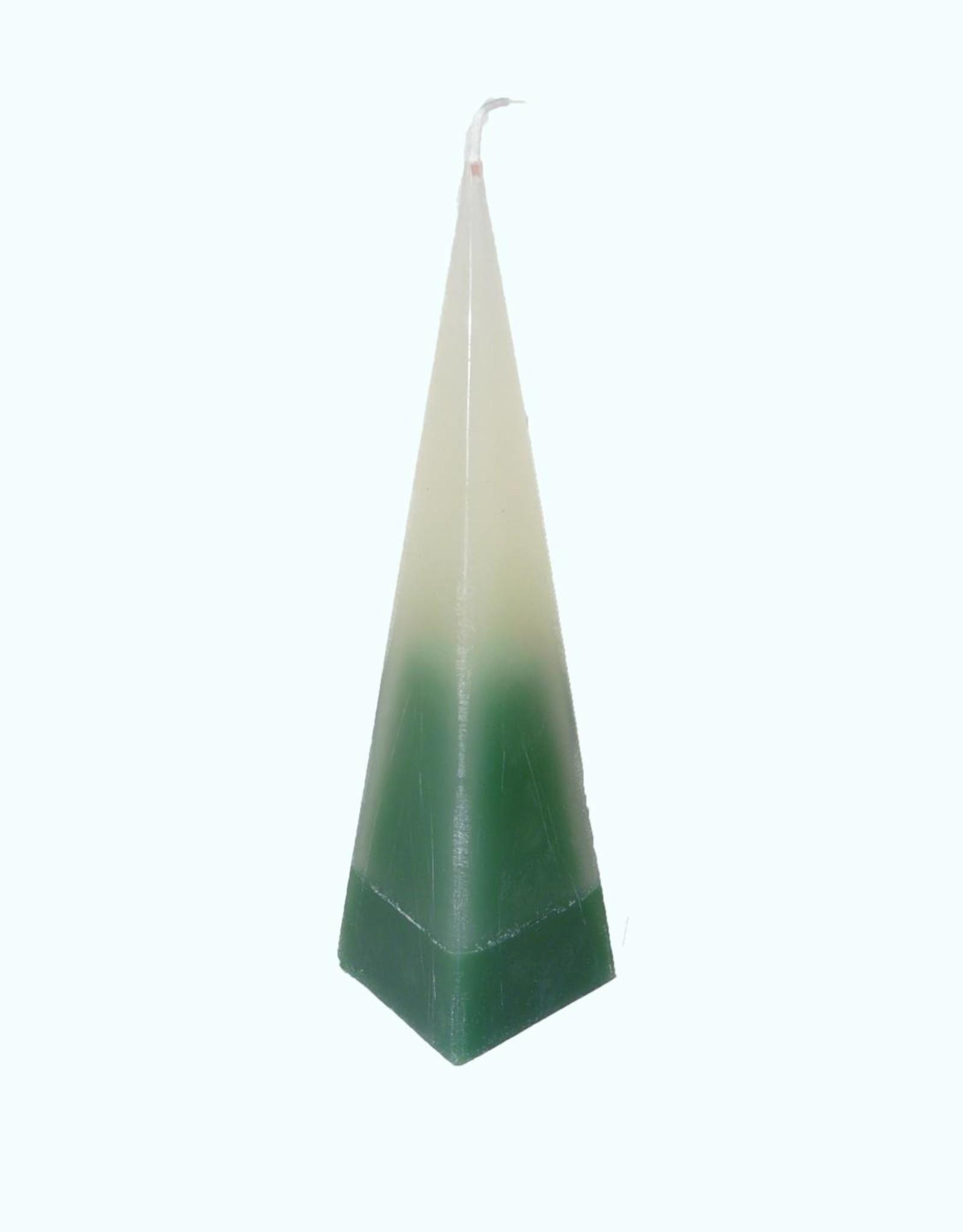 Piramide Kaars DuoColor Groen-Wit 6x6x23 cm