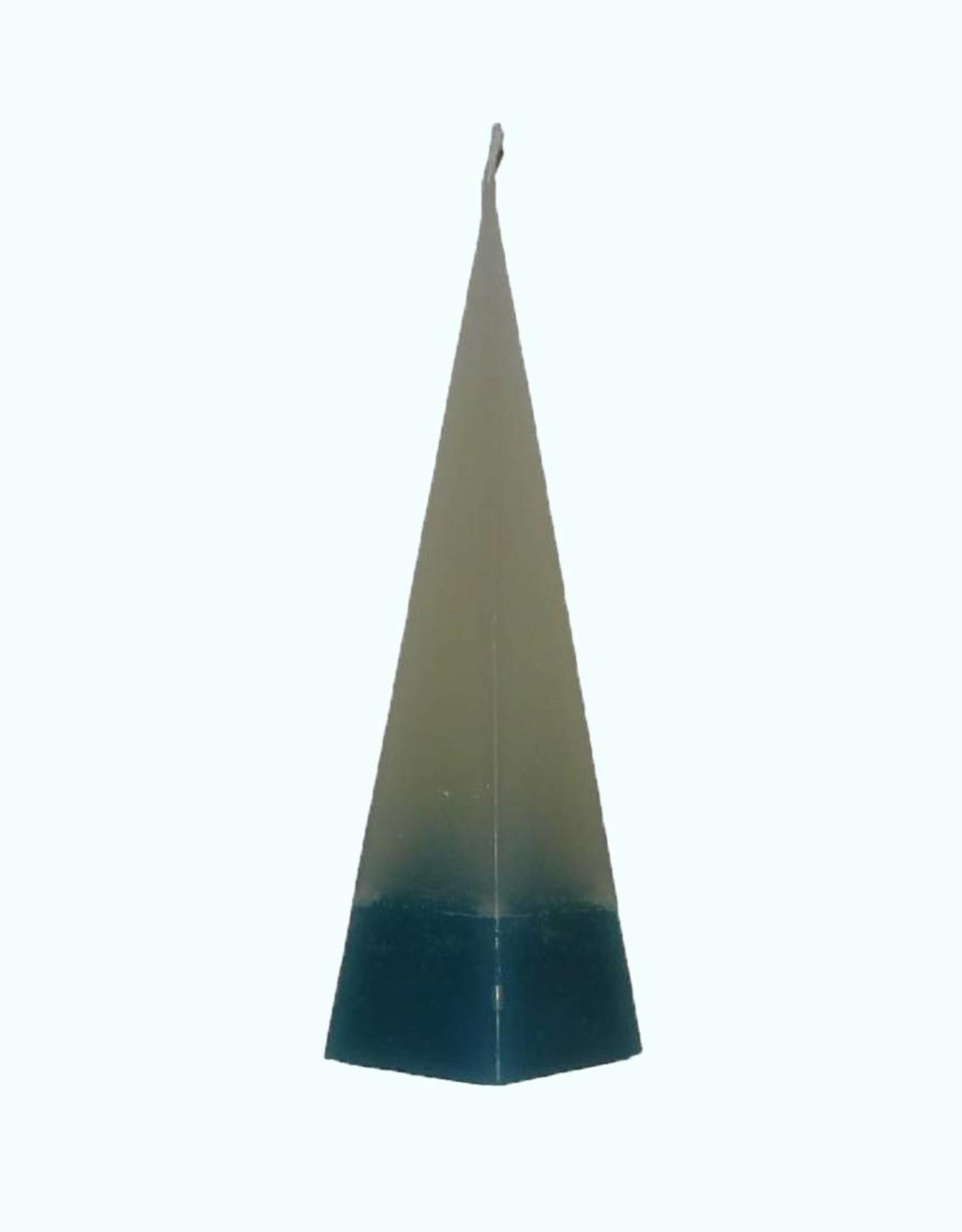 Piramide Kaars DuoColor Blauw-Wit 6x6x23 cm