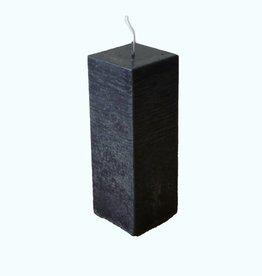 Kaars Vierkant Rustique Zwart 6x6x16 cm