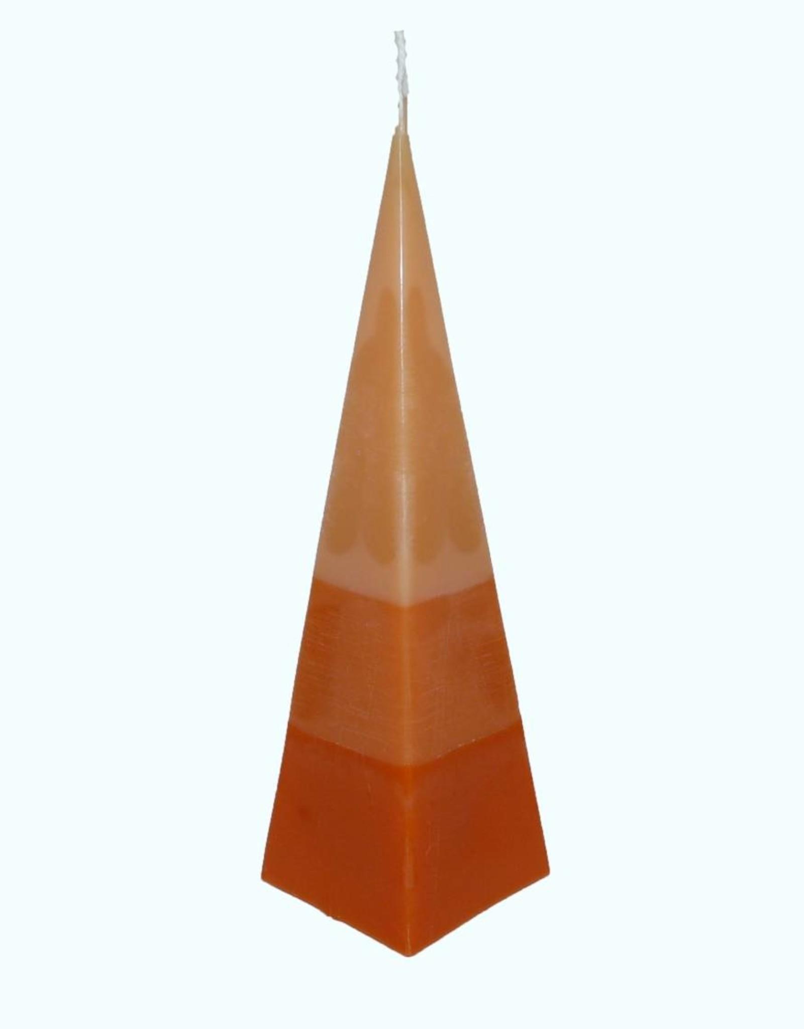 Kaars Piramide TriColor Oranje 6x6x23 cm