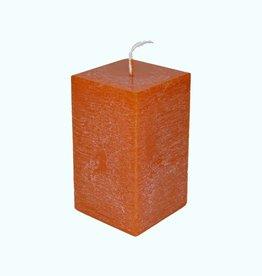 Kaars Vierkant Rustique Oranje 6x6x10 cm