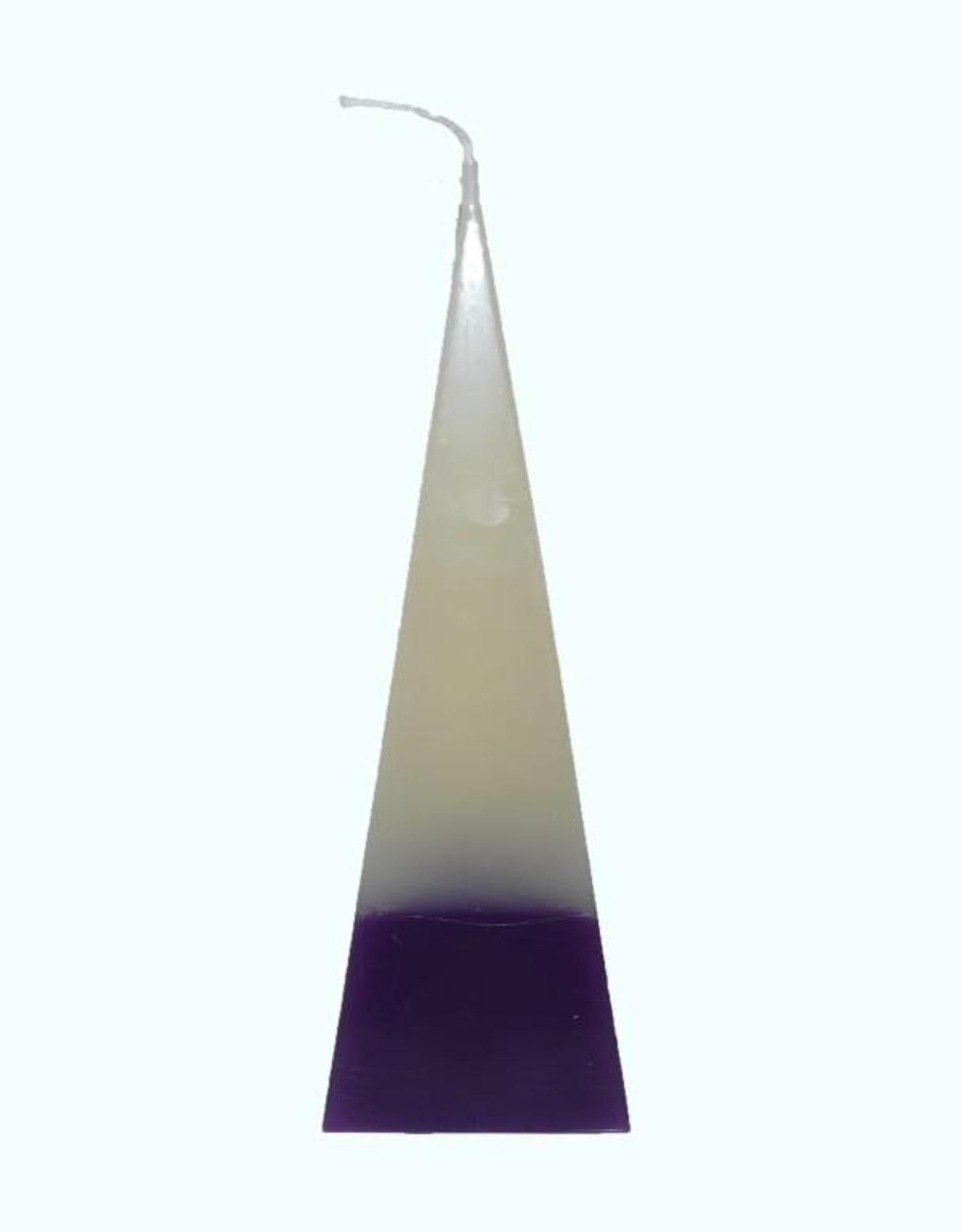 Piramide Kaars DuoColor Paars-Wit 6x6x23 cm