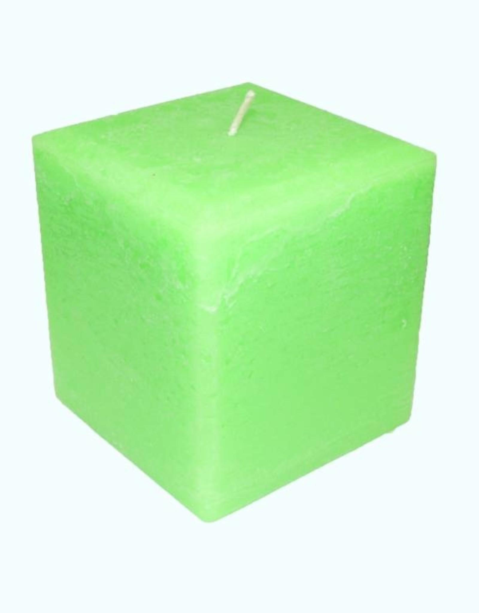 Grote vierkante kaars in de kleur Fluor Groen 10x10