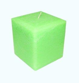 Kaars Vierkant Groot Rustiek Fluor Groen 10x10x10 cm