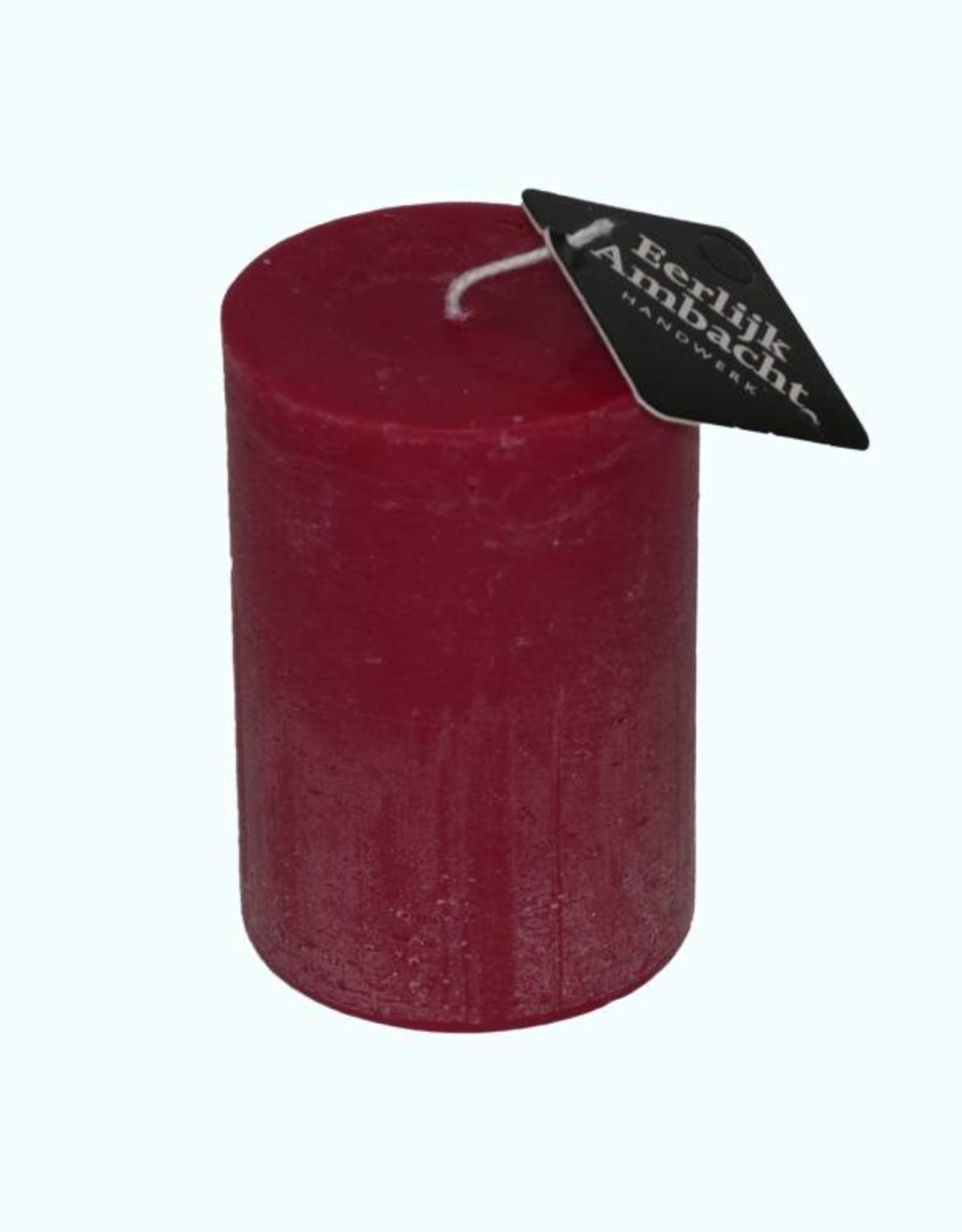 Rustieke Stompkaars Bordeaux Rood Ø 68x100 mm
