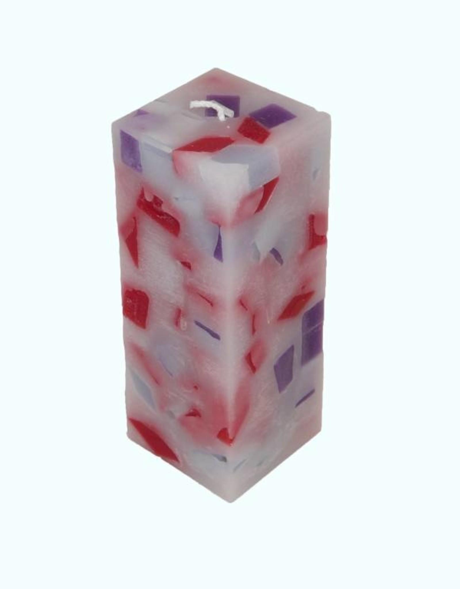 Mozaïek Kaars Vierkant Rood-Paars-Kobalt blauw 6x6x16 cm
