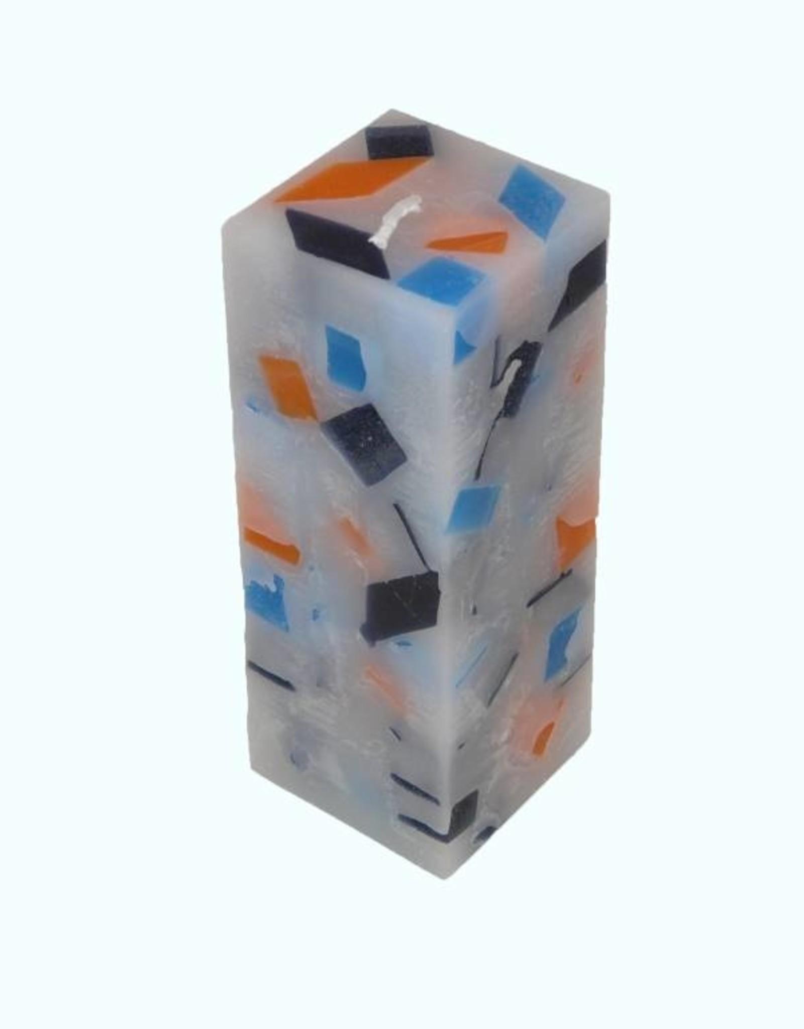 Mozaïek Kaars Vierkant Donker Blauw-Felblauw-Oranje 6x6x16 cm