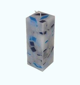 Mozaïek Kaars Vierkant Donker Blauw-Felblauw 6x6x16 cm