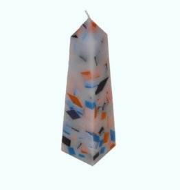 Mozaïek Kaars Obelisk Donkerblauw-Felblauw-Oranje 6,8x6,8x25 cm