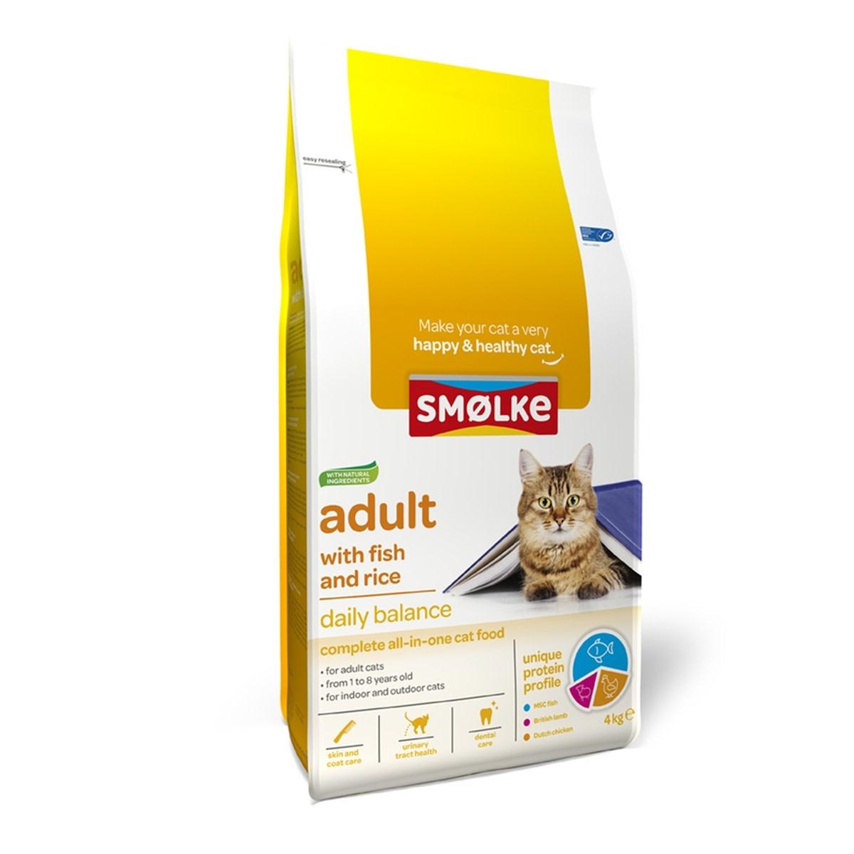 Smølke Smolke kat adult fish & rice 4kg