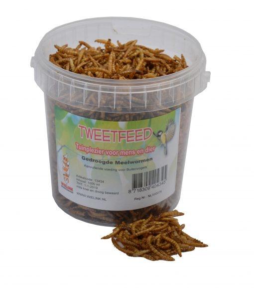 TWEETFEED gedroogde meelwormen in emmer